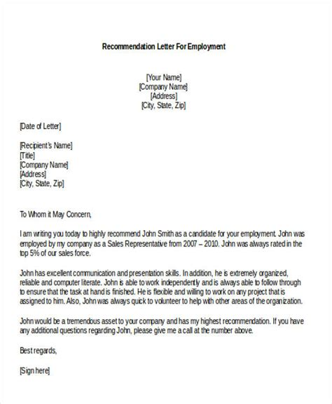 sles of letters of recommendation sle letter of recommendation for sales position gallery 9761