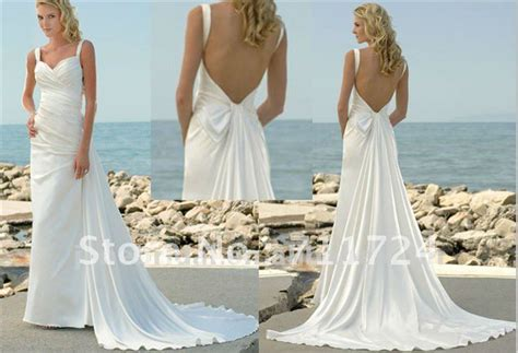 Low Back Beach Wedding Dresses With Detachable Train-in