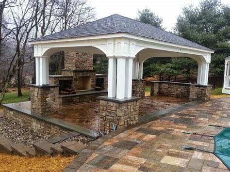 outdoor pavilion fireplace life time pavers