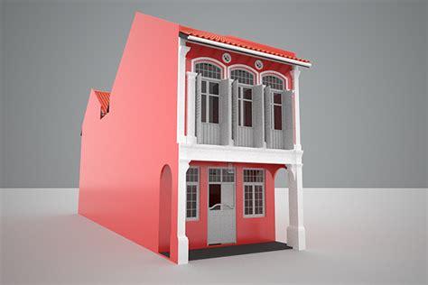 shophouse singapore malaysia style  model cgtrader