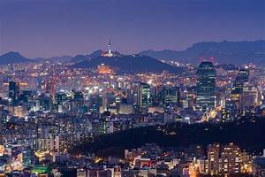 Seoul At Night, South Korea City Skyline. Stock Photo ...
