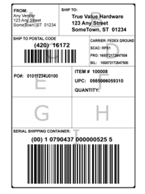 gs  shipping label