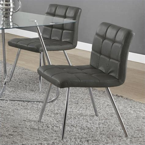monarch dining chair grey chrome set of 2