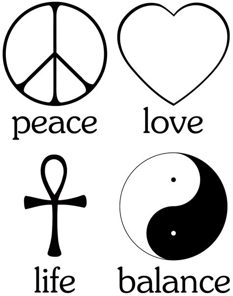The primary values for living a spiritual existence: Peace (peace sign), Love (cupid heart