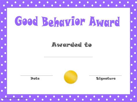 Free Printable Childrens Certificates Templates by Behavior Printable Certificates