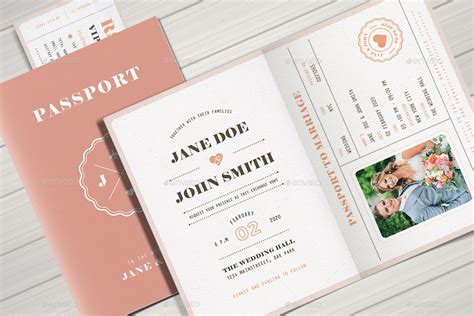 Pastel Passport Wedding Invitation By Vector_vactory