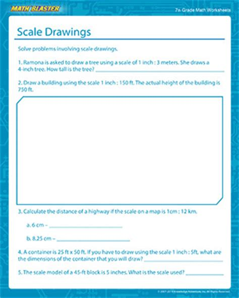 scale drawings free math printables for 7th grade math