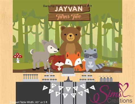Woodland animals theme printable backdrop banner