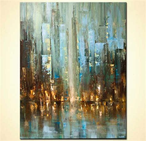 painting contemporary abstract city painting textured