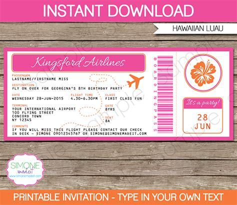 hawaiian luau boarding pass invitations template