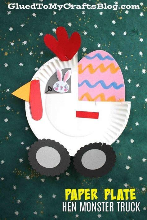paper plate hen monster truck crafts easter crafts