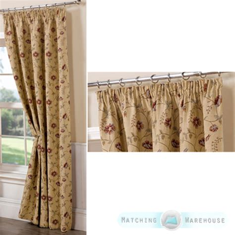 floral tapestry pattern ready made curtains pencil pleat
