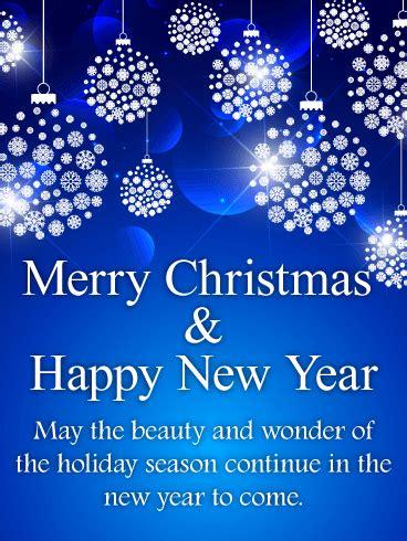 shining blue merry christmas card birthday greeting
