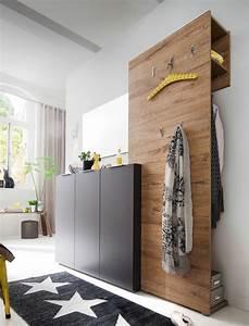 Designer Garderoben Set : garderobe anthrazit eiche 3 teilig garderobenm bel garderobenset victoria 10 ~ Indierocktalk.com Haus und Dekorationen