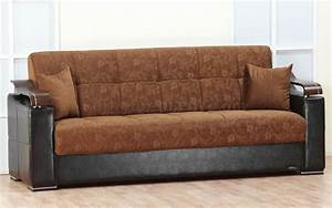 brown fabric black vinyl modern sofa bed w options With vinyl sofa bed