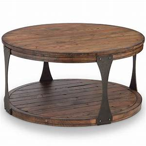 Magnussen home montgomery industrial reclaimed wood round for Industrial wood coffee table with wheels