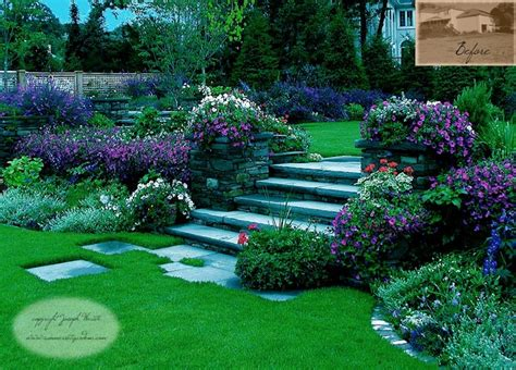 garden steps plantings traditional landscape new