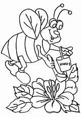 Bee Coloring Honey Bumblebee Collecting Fat Colornimbus Scooping Sheets Printable Colour Crafts Disimpan Dari sketch template