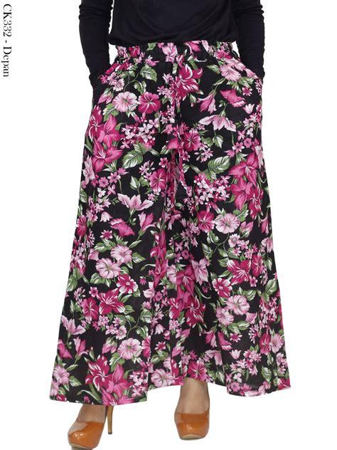 celana kulot katun bunga jual celana kulot motif bunga bahan katun linen