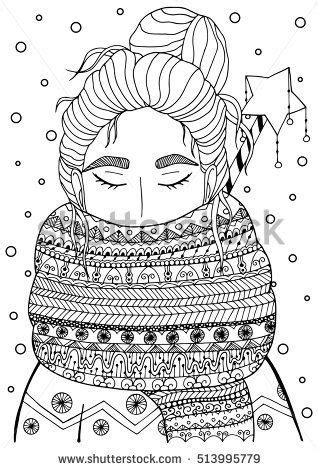 vector christmas illustration zentangl girl  scarf