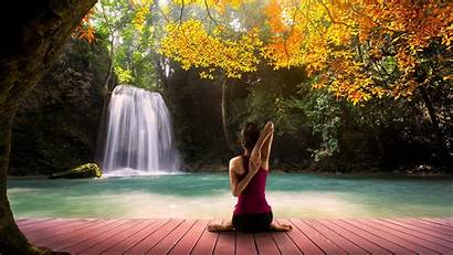 Yoga Waterfall Background Autumn Wallpapers Resolution