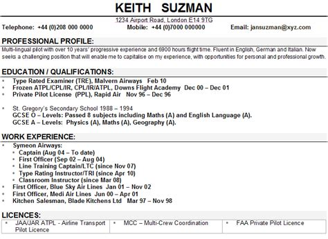 Pilot Resume Examples  Examples Of Resumes