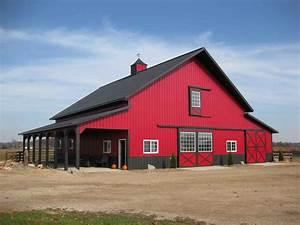 meyer red pole barn house construction buildings u home With barn builders iowa