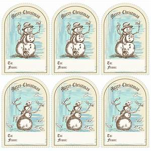 Winter Fun Old Fashioned Snowman Christmas Gift Tags
