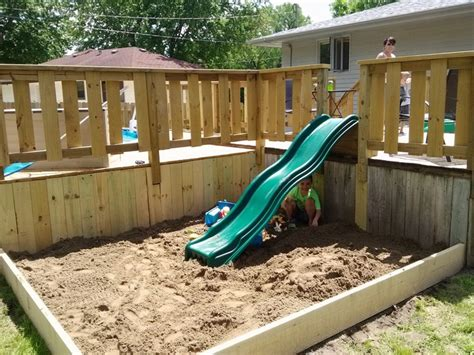 Sandbox With Slide Off Of Deck  Inspiration Home And