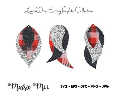 Clipart png included for personal & commercial use. Earring SVG | Faux Leather Earring Templates | Cricut ...