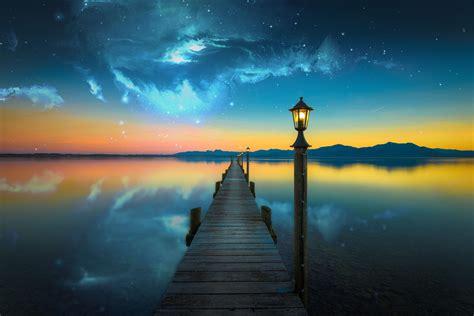 Nebula, Space, Lake, Evening, Photo Manipulation, Bridge