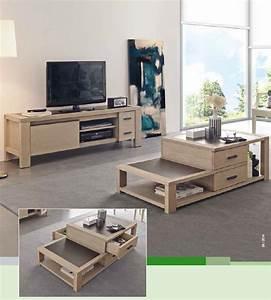 table basse coffre meuble tv colonne en bois d39oregon With table basse et meuble tv assortis