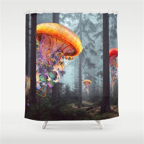 Electric Forest Showers - electricjellyfish worlds in a forest shower curtain by