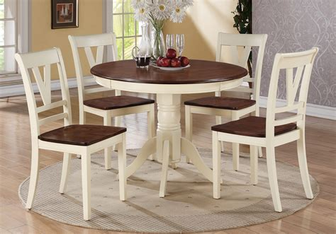 country kitchen side table 5 pc country 2 tone cream cherry wood round dining table