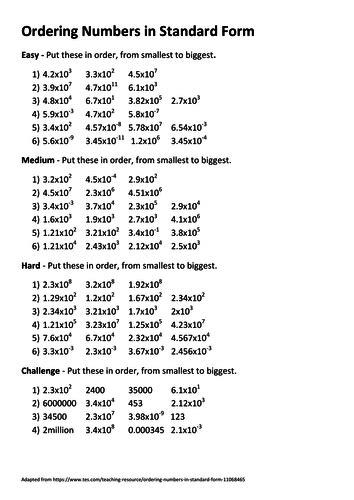 Ordering numbers in standard form   Teaching Resources