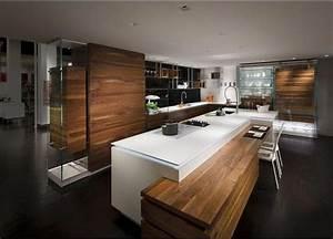 Cuisine Moderne Design : cuisine design et moderne blanche et bois avec lot jeux de niveaux et r tro clairage ~ Preciouscoupons.com Idées de Décoration