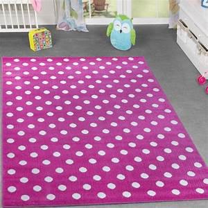 Kinderzimmer Für Mädchen : kinder teppich kinderzimmer f r m dchen spielzimmer gepunktet in pink wei ebay ~ Sanjose-hotels-ca.com Haus und Dekorationen