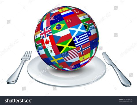 foreign cuisine international cuisine represented by a globe with flags