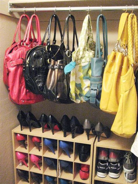 Closet Hooks For Purses by Hang Purses In Closet With Shower Curtain Hooks I Ve Been