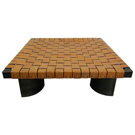 Shop for round leather coffee tables at walmart.com. Industrial Woven Leather and Steel Coffee Table at 1stdibs