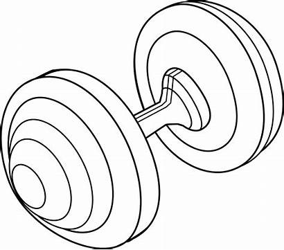 Barbell Clip Clipart Weight Line Drawing Plate
