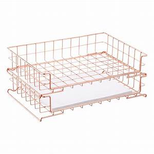 Copper wire stackable letter tray the container store for Stackable wire letter trays