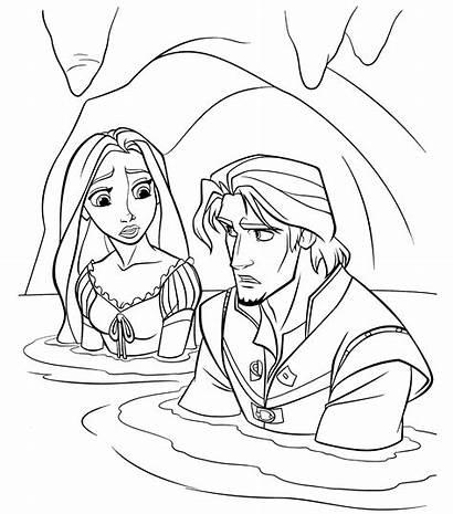 Rapunzel Coloring Water Disney Kleurplaten Flynn Het