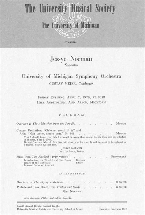 Ums Concert Program April 7 1978 Jessye Norman
