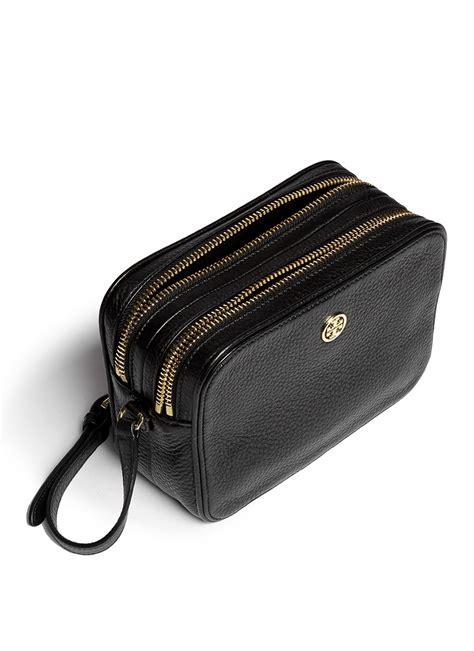 tory burch robinson double zip leather crossbody bag  black lyst