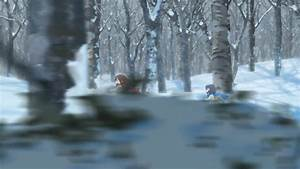 Ame and Yuki running in the forest in Winter - Wolf ...
