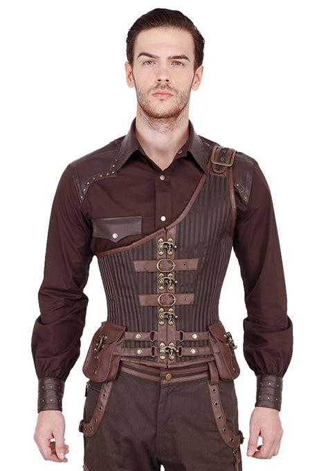 pantalon de cuisine homme corset homme serre taille steunk marron tissu brocart