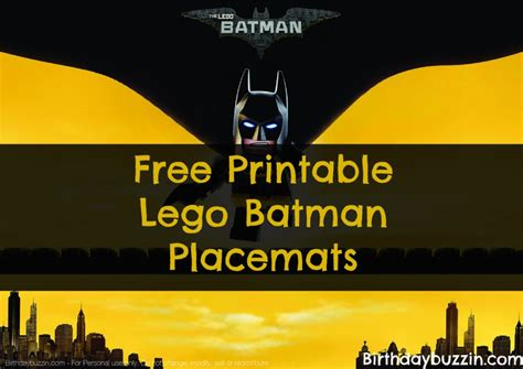 printable lego batman placemats birthday buzzin