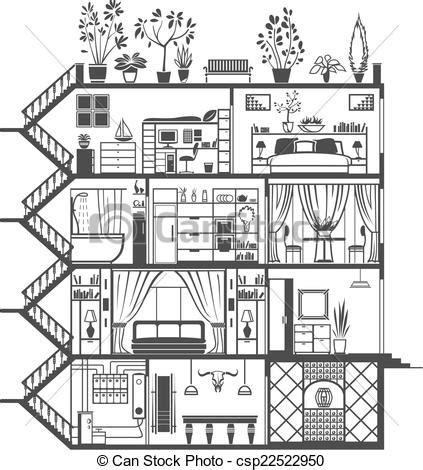 Dessin D Interieur De Maison Vecteur Clipart De Int 233 Rieur Maison Silhouette Maison