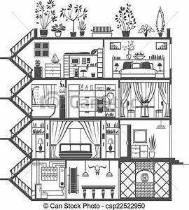 vecteur clipart de interieur maison silhouette maison With dessin d interieur de maison